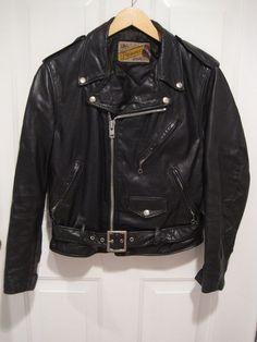 Vintage Schott Perfecto 118 Black Leather Motorcycle Biker Jacket 618  Size 40 #Schott #Motorcycle