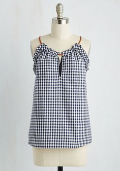 Fashion Your Seat Belts Top. Settle in behind the wheel sporting this navy gingham top, and let the cross-country conviviality begin! #blue #modcloth
