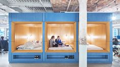 Dozing off at work is encouraged at mattress brand Casper's headquarters in New York, where employees can have meetings or take naps on beds provided at the office, designed by local firm Float Studio.