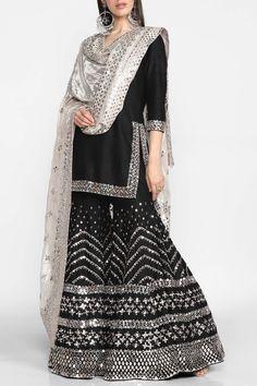 Buy Embellished Kurta Sharara Set by Abhinav Mishra at Aza Fashions Source by ramancuty dresses indian Sharara Designs, Indian Designer Suits, Indian Fashion Dresses, Dress Indian Style, Pakistani Dress Design, Pakistani Outfits, Indian Wedding Outfits, Indian Outfits, Bridal Outfits