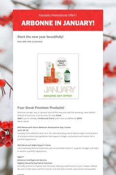 Arbonne in January! Contact Shandra MacMaster 116052496