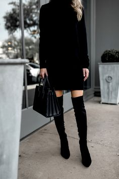 over the knee boots and sweater dress