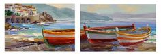 Image result for boats on the beach painting