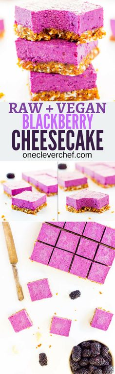 These Raw Vegan BlackBerry Cheesecake bars are super creamy and perfectly sweet. This easy no-bake dessert is also extremely healthy! You would never believe it's dessert by simply looking at the nutritional values. This recipe is also Paleo, Gluten-free, Healthy Vegan Dessert, Cake Vegan, Raw Vegan Desserts, Raw Vegan Recipes, Vegan Treats, Healthy Dessert Recipes, Gluten Free Desserts, Dairy Free Recipes, Vegan Gluten Free