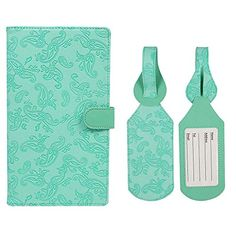 JAVOedge Travel Set Teal Embossed Paisley Long RFID Blocking Passport Case with Pen Holder  2 Matching Luggage Tags *** Click image for more details. (Note:Amazon affiliate link) #LuggageTravelGear