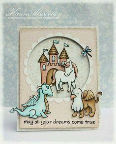 Handmade card - Fantasy, unicorn, dragon, castle