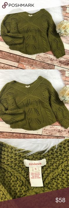 Sundance catalog olive green knit sweater So cute! Size small. In excellent condition, no flaws! Beautiful olive green color and perfect for fall! Length-22, bust-20 pit to pit ***NO modeling or trades!! ::047 Sundance Sweaters