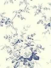 Wallpaper New Vintage Cottage Roses Floral Navy Blue and Blue Grays on Eggshell