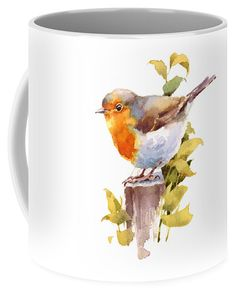 Bird Painting Coffee Mug featuring the painting Robin by Maria Stezhko