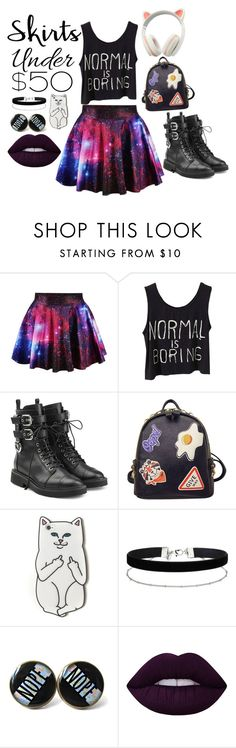 """Geeky fashion"" by rebeckarosdahl ❤ liked on Polyvore featuring Giuseppe Zanotti, WithChic, RIPNDIP, Miss Selfridge, Lime Crime, under50 and skirtunder50"