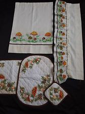 Vintage Sears Merry Mushroom Curtains Valance Placemats Potholder