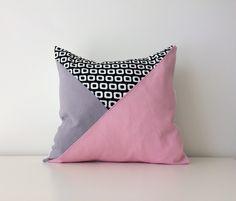 "Geometric Pillow Covers, 15x15"", Color Block, Modern Decor, Pink, Black, White, Grey, Triangle, Pattern Block, Rose Quartz, Pantone, by BlackcatmeowDesigns on Etsy"