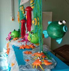 Schildkröte und Fische aus Styroporkugeln