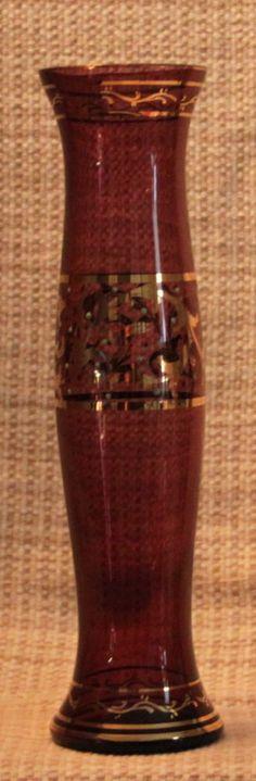 Vintage Amethyst Hand Blown Hand Painted Gold Gilt Bohemian Czech Vase