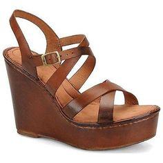 88.07$  Buy here - http://viqyg.justgood.pw/vig/item.php?t=rtpejk820344 - $125 BORN Womens Filomena Wedge Sandal Leather Platforms High Heel Tan Size 11 88.07$