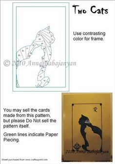 Two Cats Iris Folding Pattern