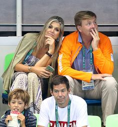 King Willem-Alexander of the Netherlands and Queen Maxima of the Netherlands attend the swimming finals on day 8 of the Rio 2016 Olympic Games at Olympic Aquatics Stadium on August 13, 2016 in Rio de Janeiro, Brazil