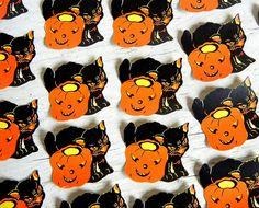 Vintage Halloween Die Cut Seals | Black Cat Jack O'Lantern Seals | Die-Cut…