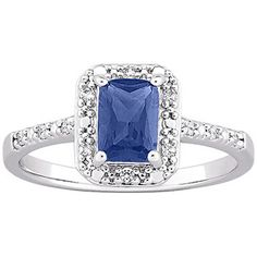 0.5 Carat T.G.W. Sapphire and CZ Platinum over Sterling Silver Ring. this is a good look.