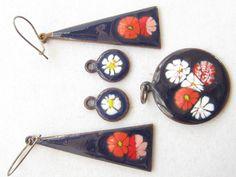 Vintage Modernist Copper Enamel Floral by mimisvintageshop on Etsy