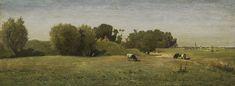 Paul Joseph Constantin Gabriël | Landscape near Abcoude, Paul Joseph Constantin Gabriël, 1860 - 1870 | Landschap bij Abcoude. In weilanden naast oude vestingswallen grazen enige koeien, in de verte een kerktoren.