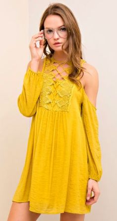 Walkin' on Sunshine Open Shoulder Dress (more colors)