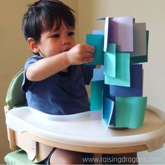 Sticky Note Tower * ages ⋆ Raising Dragons – Raising Dragons – STEAM & Educational Activities for Kids Sticky Note Tower * ages ⋆ Raising Dragons Here's a fun toddler activity that's great for jmproving fine motor skills! Fun Activities For Toddlers, Montessori Activities, Preschool Learning, Indoor Activities, Infant Activities, Diy Toys For Toddlers, Educational Activities, Baby Lernen, Baby Sensory
