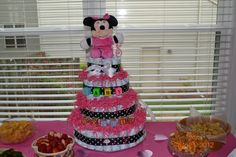"""Minnie Mouse Diaper Cake """"Made with Love"""" for my daughter's baby shower sprinkle!"""