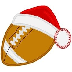 Football Santa Hat Applique - 3 Sizes! | Football | Machine Embroidery Designs | SWAKembroidery.com Band to Bow