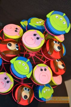 Toy Story Cupcakes Including Alien Hamm And Slinky Dog Toy
