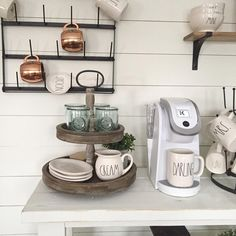 DIY shiplap and coffee bar decorating to display Rae Dunn and other farmhouse decor. Sundaywithsusie.com
