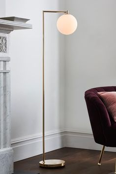 Give your living space a tranquil feel with this gold Pasadena floor lamp. Gold Floor Lamp, Floor Lamps, Tall Lamps, Floor Standing Lamps, Glass Furniture, Decoration, Indoor Outdoor, Modern, Flooring