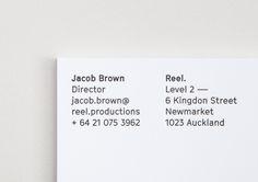 Letterpress business cards for Reel by graphic design studio Richards Partners