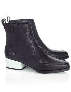 3.1 Philip Lim / black leather point Chelsea boots