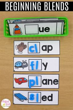 Hands-on, engaging, and systematic phonics for beginning readers! This beginning blends packet is part of the Phonics Made Fun Level B Bundle! Phonics Centers, Spelling Activities, Phonics Activities, Kindergarten Activities, Teaching Phonics, Reading Activities, Kindergarten Language Arts, Kindergarten Reading, Teaching Reading