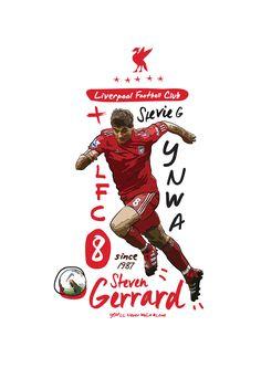 Steven Gerrard illustration by KieranCarrollDesign Liverpool Kop, Liverpool Football Club, Liverpool Fc Wallpaper, Liverpool Wallpapers, God Of Football, This Is Anfield, You'll Never Walk Alone, Pop Art Design, Steven Gerrard