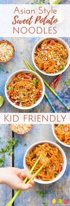 These Asian style sweet potato noodles are sure to be loved by the whole family. Sweet potato are spiralized and cooked in an asian style peanut sauce. Kid friendly