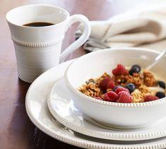 Gabriella Dinnerware, 16-Piece Cereal Bowl Set, White