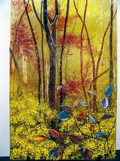 Fall Colors - Delphi Stained Glass - this is AMAZING! Fused glass kiln-melted 'painting'