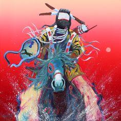 """Blue Pony Rider"" by Raymond Nordwall (Pawnee, Ojibwe, Cherokee)"