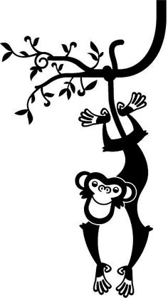 Monkey Wall Decal - Baby & Kids Wall Decals E-Glue - Children Room Wall Decor*vector* Silhouette Vinyl, Silhouette Portrait, Silhouette Cameo Projects, Kids Wall Decals, Wall Stickers, Vinyl Decals, Vinyl Crafts, Vinyl Projects, Vinyl Cutting