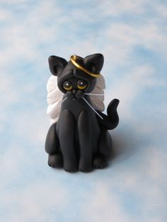 Your place to buy and sell all things handmade Cat Christmas Ornaments, Christmas Clay, Christmas Angels, Xmas Tree, Polymer Clay Charms, Polymer Clay Art, Big Cats, Cats And Kittens, Sculpture Art