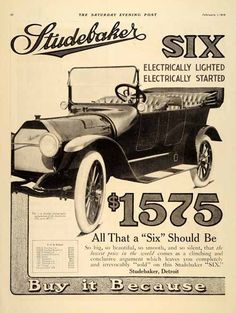 This is an original 1914 black and white two-page print ad for the Studebaker model Six and model Four automobile. CONDITION This 97+ year old Item is rated Near Mint / Very Fine. Light aging througho