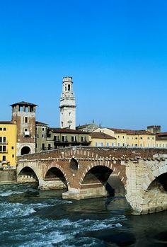 Ponte Pietra (Stone bridge) over Adige river, Verona (UNESCO World Heritage List, 2000), Veneto, Italy