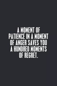 A moment of patience in a moment of anger saves you a hundred moments of regret.