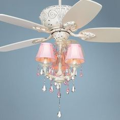Ceiling fan chandelier - my daughter really wants this! So girly!!