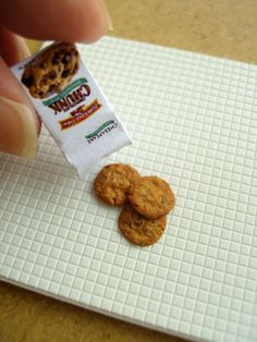 Miniature Chocolate Chip Cookies 1/12 scale dollhouse by snowfern, $19.00