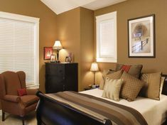 Popular Bedroom Colors with brown chair