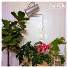 Gießkannenbeleuchtung, Lichterkettendekoration für jede Jahreszeit. #Gießkanne #Dekoration #Lichterkette #InesFelix