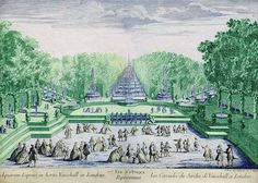 French print of the Water Cascade at Vauxhall Gardens, c 1750